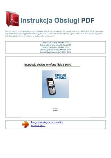 Instrukcja obsługi NOKIA 2610 - INSTRUKCJA OBSLUGI PDF