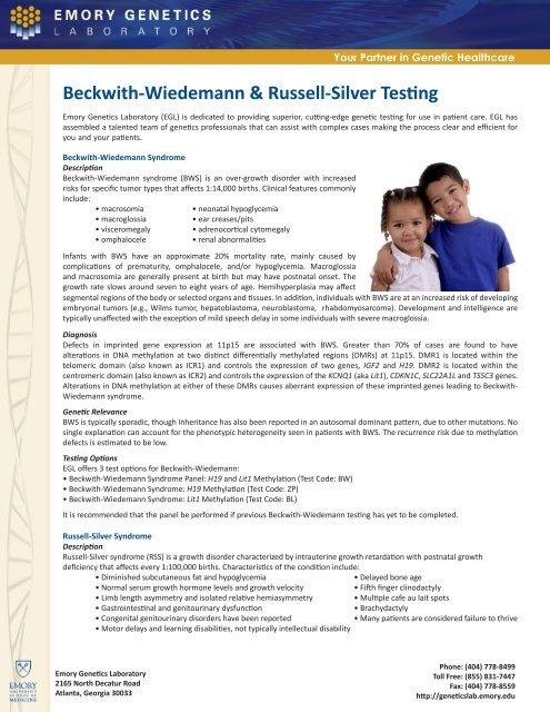 Beckwith-Wiedemann & Russell-Silver Testing