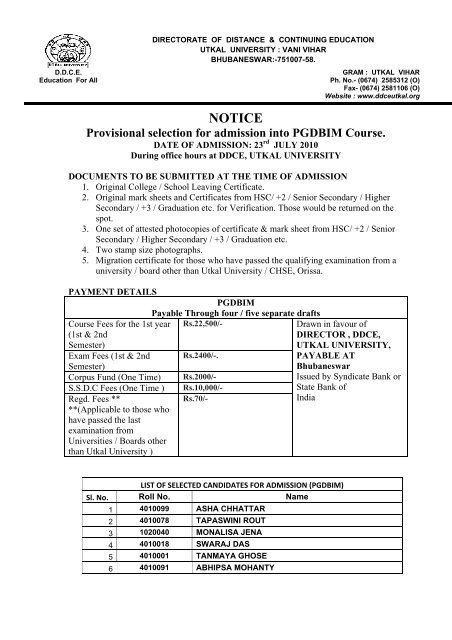 Notice Ddce Utkal University Bhubaneswar