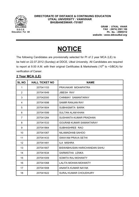 NOTICE - DDCE, Utkal University, Bhubaneswar