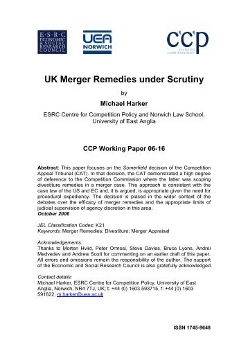 UK Merger Remedies under Scrutiny - Centre for Competition Policy