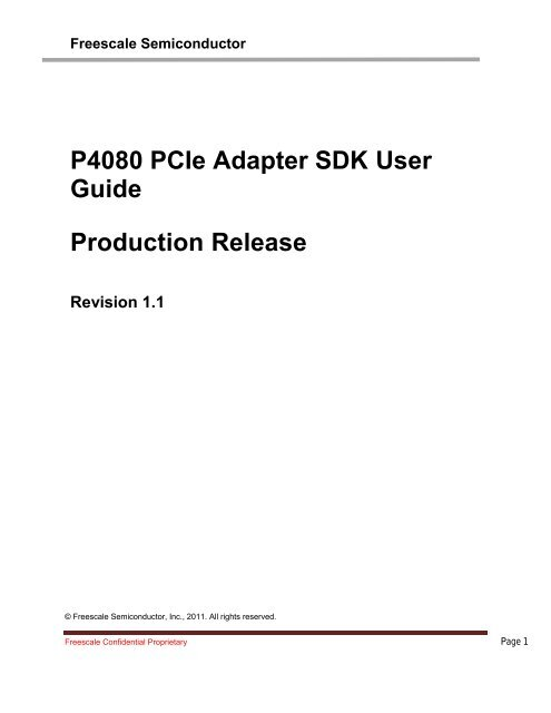 P4080 PCIe Adapter SDK User Guide Production Release