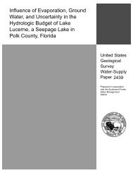 Influence of Evaporation, Ground Water, and ... - Florida - USGS