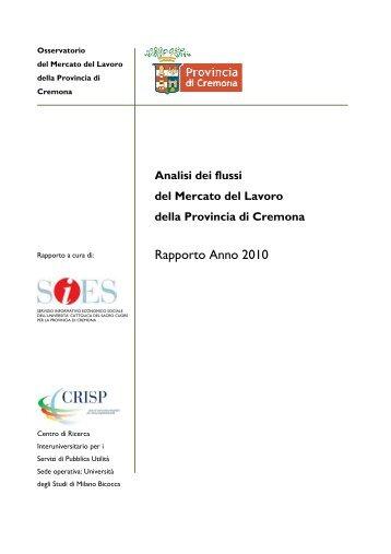 Rapporto Anno 2010 - Centri di Ricerca
