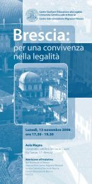 Brescia: - Centri di Ricerca - Università Cattolica del Sacro Cuore