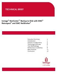 Iomega StorCenter Backup to Disk with EMC Retrospect and EMC ...