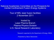 Overview of the NRL laser fusion program