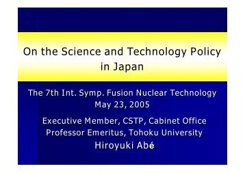 On the Science and Technology Policy in Japan
