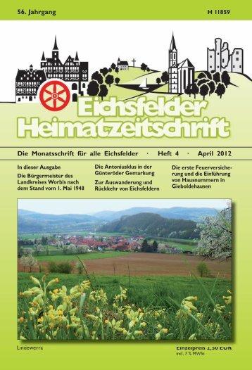 Die Monatsschrift für alle Eichsfelder · Heft 4 · April 2012 56. Jahrgang