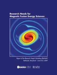 Research Needs for Magnetic Fusion Energy Sciences - US Burning ...