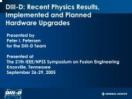 DIII-D: Recent Physics Results, Implemented and Planned ...