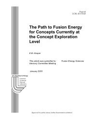 The Path to Fusion Energy for Concepts Currently ... - The FIRE Place