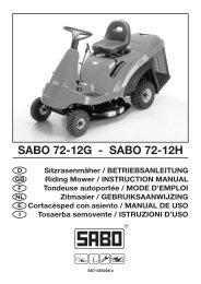 SABO 7 SABO 72-12G - SABO 72-12H - Operator's Manual