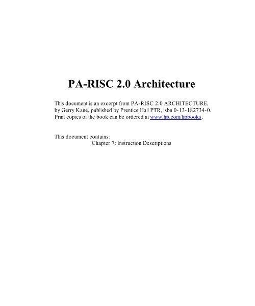 PA-RISC 2.0 Architecture - HP
