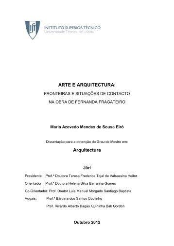 ARTE E ARQUITECTURA - Universidade Técnica de Lisboa