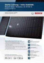 Starke Leistung – hohe Stabilität. Bosch Solar Module c-Si M 60 S