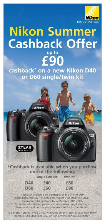 Nikon Summer Cashback Offer £90 - Play.com