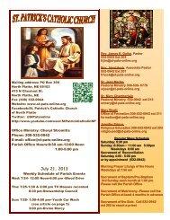June 16, 2013 Weekly Schedule of Parish Events