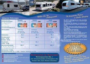 Unser aktueller Vermietflyer zum Download - Ostsee Campingpartner