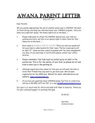 AWANA PARENT AWANA PARENT LETTER