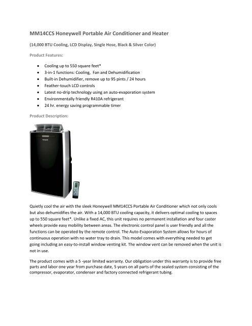 Sears Portable Air Conditioner >> Mm14ccs Honeywell Portable Air Conditioner And Heater Sears