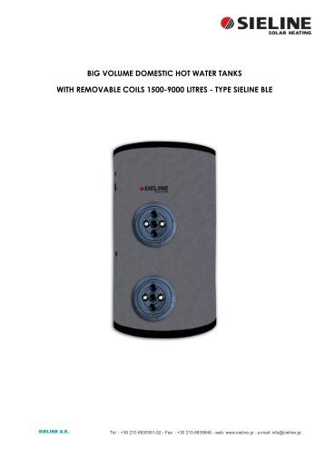 big volume domestic hot water tanks with removable coils ... - Sieline