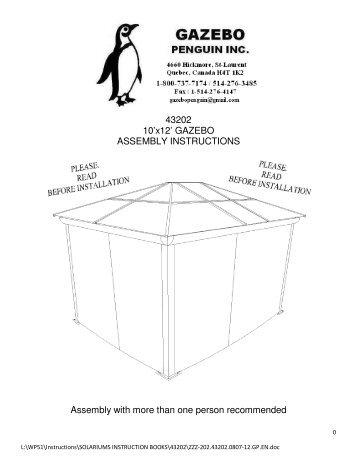 43202 10x12 GAZEBO ASSEMBLY INSTRUCTIONS Assembly With