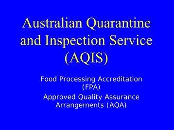 Australian Quarantine and Inspection Service (AQIS) - FTP-UNU