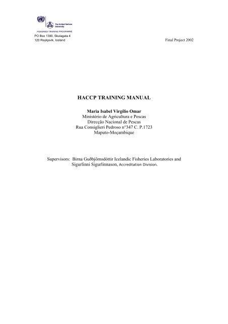 Training manual – HACCP/GMP - FTP-UNU