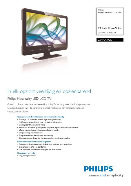22HFL4372D/10 Philips Professional LED LCD-TV - Icecat.biz
