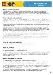 Article I : Société organisatrice Article II : Conditions de ... - Lego