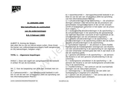 31 JANUARI 2009 Wet betreffende de continuïteit van ... - SeniorenNet