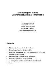 Grundfragen eines Lehramtsstudiums Informatik - Didaktik der ...