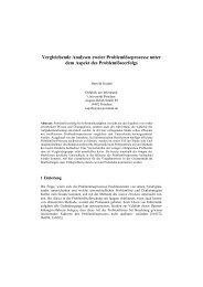 Vergleichende Analysen zweier Problemlöseprozesse unter dem ...