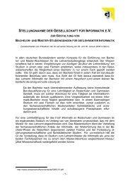 Stellungnahme der Gesellschaft für Informatik e.V. zur Gestaltung ...