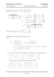 Mathematik für Informatiker II 4. Übungsblatt - Fachschaft Informatik ...