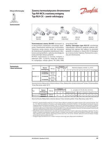 Zawory termostatyczne chromowane, RA-NCX, RLV ... - Danfoss.com