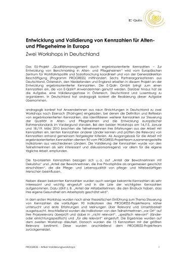 Entwicklung und Validierung von Kennzahlen für Alten- und ...