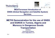 METIS Demonstration for the use of GNSS and EGNOS in Tunisia ...