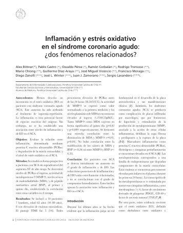 Inflamación y estrés oxidativo en el síndrome coronario agudo: ¿dos ...