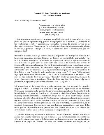 Carta de SS Juan Pablo II a los Ancianos - Escuela de Medicina