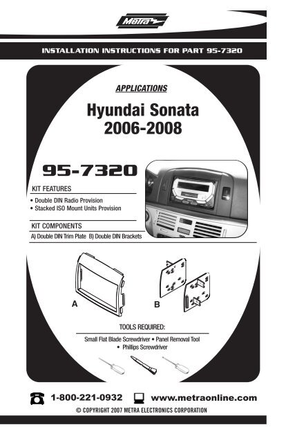 Metra 95-7320 Fits Hyundai Sonata 2006-2008 Double Din Installation Dash Kit