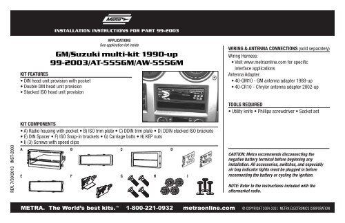 GM/Suzuki multi-kit 1990-up 99-2003/AT-555GM ... - Metra ... on