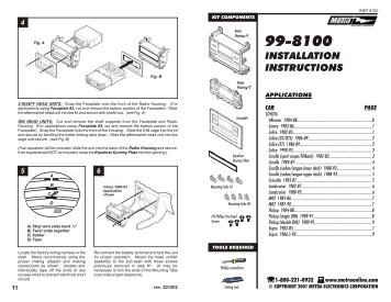 INSTALLATION INSTRUCTIONS - Metra Electronics