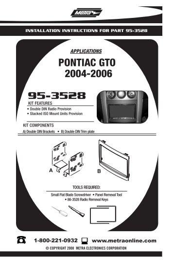 957332 Hyundai Elantra Abt. 953528 Pontiac Gto 20042006 Metra Electronics. Wiring. Gto Wiring Diagram Metra At Scoala.co