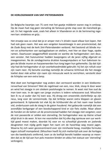 DE HORLOGEMAKER VAN SINT-PIETERSBANDEN - SeniorenNet