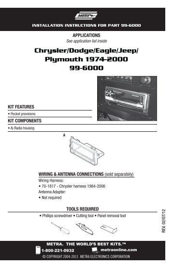 Chrysler/Dodge/Eagle/Jeep/ Plymouth 1974 ... - Metra Electronics