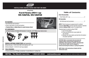 Ford Fiesta 2011-up 99-5825S, 99-5825B - Metra Electronics