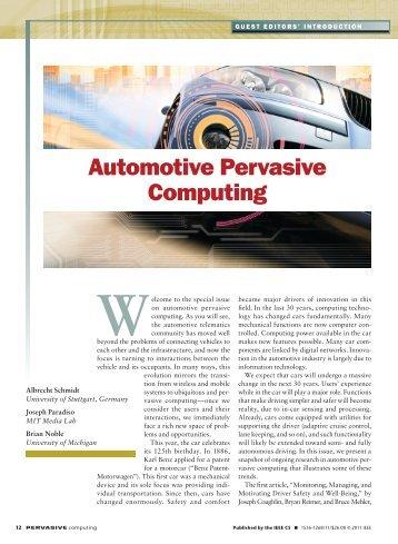 Automotive Pervasive computing - IEEE Xplore