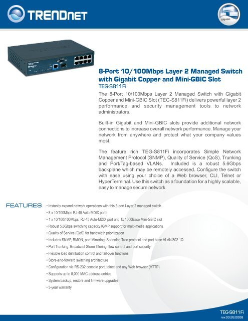 8-Port 10/100Mbps Layer 2 Managed Switch with Gigabit Copper